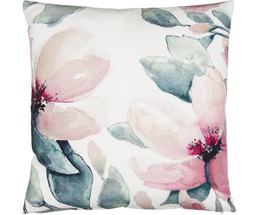 Cuscino con motivi floreali Petalia, Rivestimento: cotone, Bianco, tonalità rosa, tonalità petrolio, Larg. 50 x Lung. 50 cm