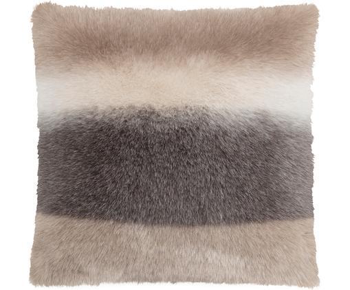 Kunstfell-Kissenhülle Skins in Beige/Braun, Vorderseite: 60%Polyacryl, 40%Polyes, Rückseite: Polyestersamt, Vorderseite: Brauntöne, Beigetöne Rückseite: Grau, 40 x 40 cm