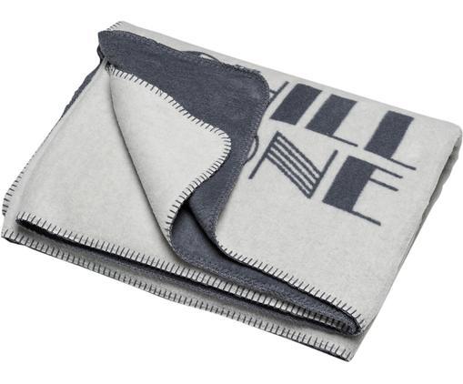 Plaid Silvretta mit Aufschrift, Bezug: 85% Baumwolle, 8% Viskose, Hellgrau, Grau, 150 x 200 cm