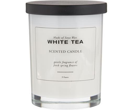 Duftkerze White Tea (Pudrig & Weißer Tee), Weiß, Schwarz, Ø 8 x H 10 cm