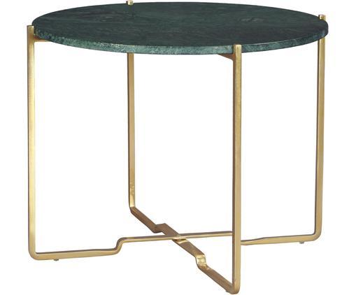 Runder Marmor-Beistelltisch Margot, Tischplatte: Marmor Naturstein, Gestell: Metall, pulverbeschichtet, Tischplatte: Grüner MarmorGestell: Goldfarben, Ø 59 x H 46 cm