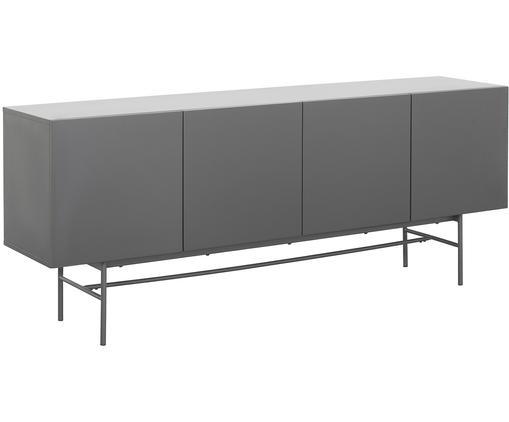 Credenza moderna Anders, Piedini: metallo, verniciato a pol, Corpo: grigio piedini: grigio, opaco, Larg. 200 x Alt. 80 cm