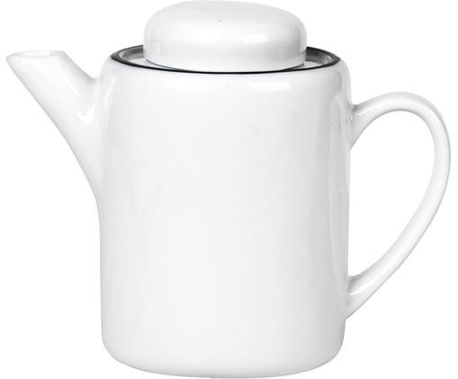 Handgemachte Teekanne Salt, Porzellan, Gebrochenes Weiß, Schwarz, 1.3 L