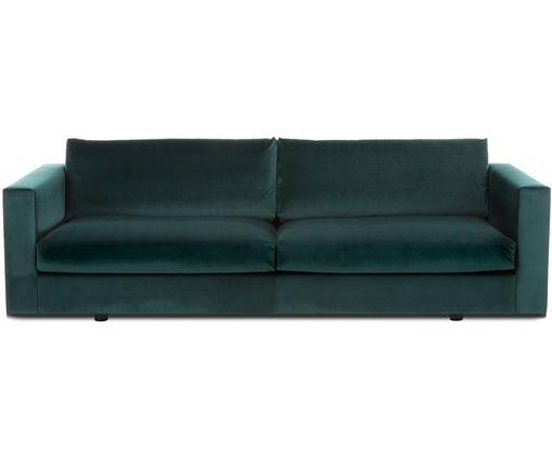 Sofa z aksamitu Balmira (3-osobowa), Tapicerka: aksamit (poliester) 100 0, Stelaż: lite drewno sosnowe, Nogi: lite drewno brzozowe, lak, Aksamitny ciemny zielony, S 240 x G 96 cm