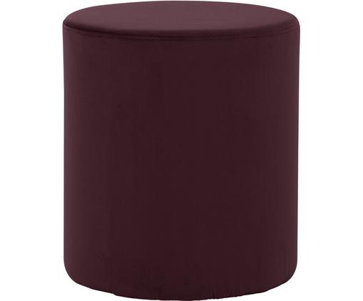 Puf de terciopelo Daisy, Tapizado: terciopelo (poliéster) 15, Estructura: tablero de fibras de dens, Rojo oscuro, Ø 38 x Al 46 cm