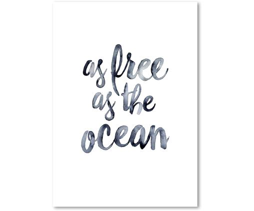 Poster As Free As The Ocean, Stampa digitale su carta, 200 g/m², Blu scuro, bianco, Larg. 21 x Alt. 30 cm