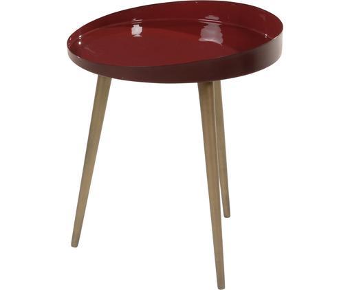 Tavolino rotondo Olia, Piano d'appoggio: metallo smaltato, Gambe: metallo, laccato, Vino rosso, Bordeaux, Ø 40 x Alt. 45 cm