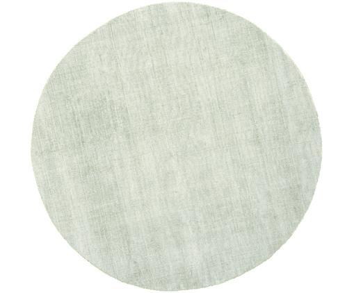 Alfombra redonda artesanal de viscosa Jane, Parte superior: 100%viscosa, Reverso: 100%algodón, Verde menta, Ø 200 cm (Tamaño L)
