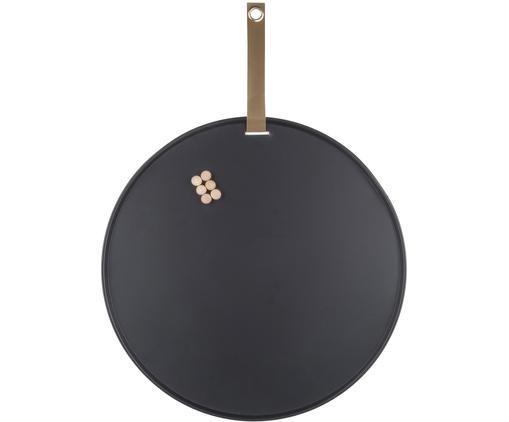 Pinnwand Perky, Metall, lackiert, Schwarz, Ø 50 x T 1 cm