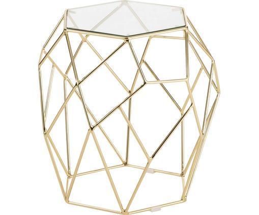 Stolik pomocniczy ze szklanym blatem Miu, Stelaż: metal powlekany, Blat: szkło hartowane, Blat: szkło Stelaż: odcienie złotego, błyszczący, Ø 50 x W 51 cm