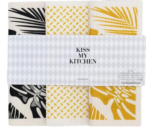 Komplet ręczników kuchennych Malibu, 3 elem., 70% celuloza, 30% bawełna, Biały, czarny, żółty, S 17 x D 20 cm