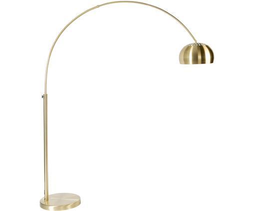 Lampada da terra ad arco regolabile Metal Bow, Base della lampada: pietra con coperchio plac, Ottonato, Larg. 170 x Alt. 205 cm