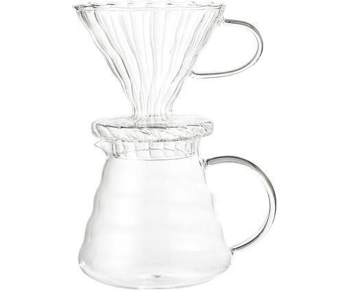 Kaffeezubereiter-Set Gondo aus Glas, 3-tlg., Deckel: Silikon, Glas, Transparent, 450 ml