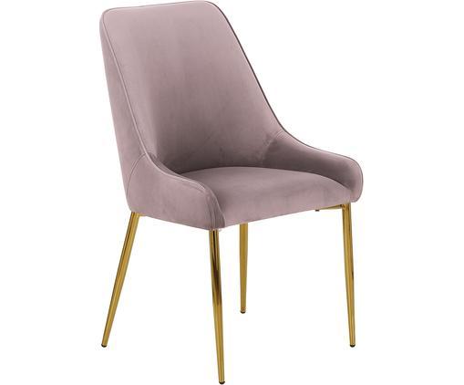 Sedia imbottita in velluto con gambe dorate Ava, Rivestimento: velluto (100% poliestere), Gambe: metallo zincato, Malva, Larg. 53 x Alt. 60 cm