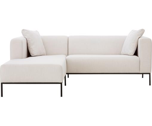 Ecksofa Carrie, Bezug: Polyester 50.000 Scheuert, Gestell: Spanholz, Hartfaserplatte, Füße: Metall, lackiert, Webstoff Beige, B 241 x T 200 cm