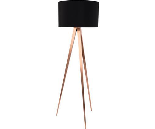 Lampa podłogowa Tripod, Klosz: czarny Podstawa lampy: miedź