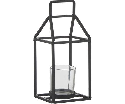 Windlicht Abbi, Windlicht: Metall, beschichtet, Schwarz, Transparent, 12 x 27 cm