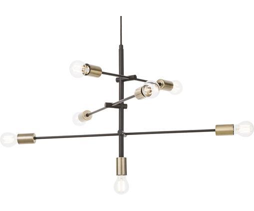 Hanglamp Visby in zwart, Baldakijn: gepoedercoat metaal, Zwart, 84 x 49 cm