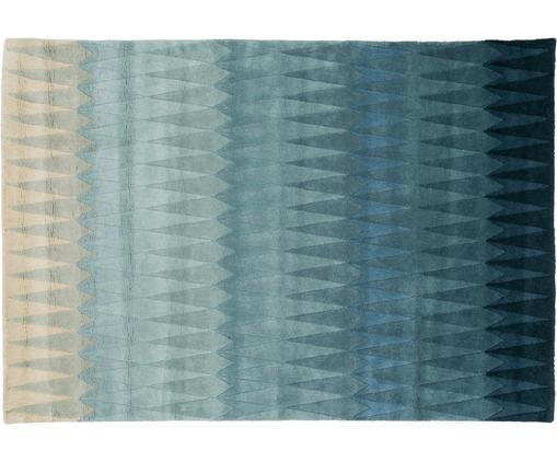 Tappeto in lana taftato a mano Acacia, Vello: lana, Retro: cotone, Tonalità blu, tonalità beige, Larg. 140 x Lung. 200 cm (taglia S)
