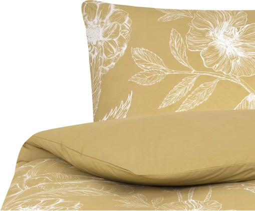 Baumwollperkal-Bettwäsche Keno mit Blumenprint, Webart: Perkal Fadendichte 180 TC, Senfgelb, Weiß, 155 x 220 cm + 1 Kissen 80 x 80 cm