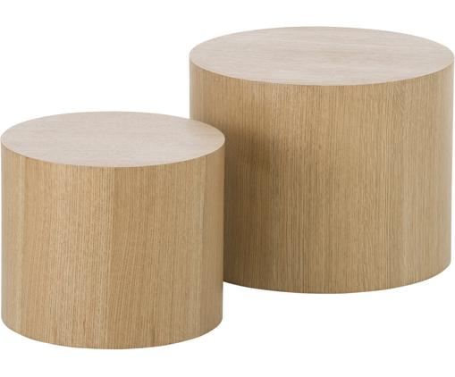 Set de mesas auxiliares Dan, 2uds., Tablero de fibras de densidad media(MDF) con chapado de roble, Acabado de madera de roble, Tamaños diferentes