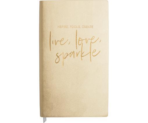 Notizbuch Live, Love, Sparkle, Kunststoff (Polyurethan), Papier, Goldfarben, 12 x 21 cm