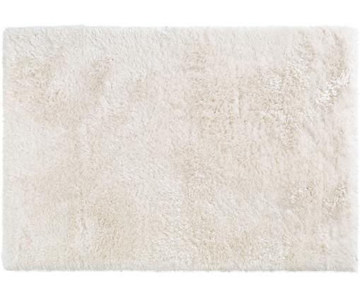 Glänzender Hochflor-Teppich Lea in Weiß, 50% Polyester, 50% Polypropylen, Weiß, B 140 x L 200 cm (Größe S)