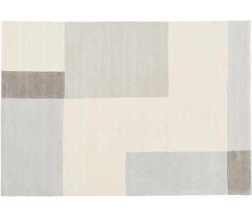 Alfombra artesanal de lana Keith, Parte superior: 100%lana, Reverso: algodón, Beige, gris, An 160 x L 230 cm (Tamaño M)
