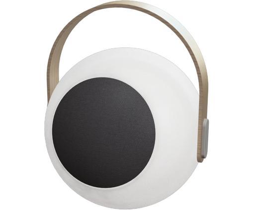 Mobile LED Außenleuchte mit Lautsprecher Eye, Lampenschirm: Kunststoff (LDPD), Griff: Ulmenholz mit Birkenfurni, Weiß, Hellbraun, Ø 24 x H 28 cm