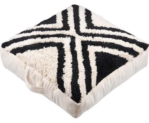 Coussin de sol moelleux style boho Burundi, Crème, noir