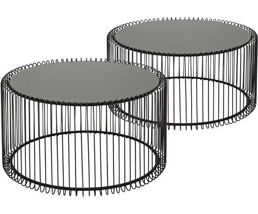 Set de mesas de centroWire, 2pzas., tablero de cristal, Estructura: acero con pintura en polv, Tablero: vidrio laminado, Negro, Tamaños diferentes
