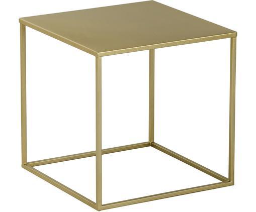 Tavolino in metallo dorato Stina, Metallo verniciato a polvere, Dorato opaco, Larg. 45 x Alt. 45 cm