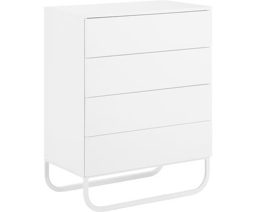 Szafka z szufladami Sanford, Korpus: płyta pilśniowa średniej , Korpus: biały, matowy Podstawa: biały, matowy, S 80 x W 106 cm