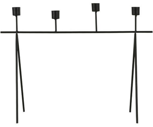 Kerzenhalter Kornel, Metall, beschichtet, Schwarz, 46 x 34 cm