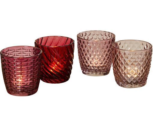 Komplet świeczników na podgrzewacze Marila, 4elem., Szkło lakierowane, Różowy, czerwony, Ø 9 x W 9 cm