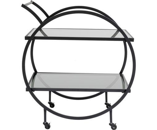 Desserte en métal avec plateau en verre Loft, Noir
