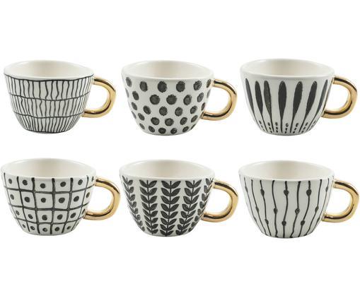 Ensemble de tasses à café Masai, 6élém., Noir, blanc, couleur dorée