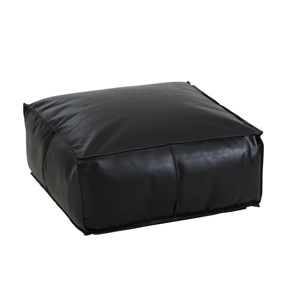 Großer Leder-Pouf Arabica, Bezug: Leder, Unterseite: Baumwolle, Schwarz, 70 x 30 cm