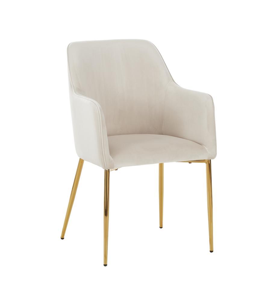 Krzesło z aksamitu z podłokietnikami Ava, Tapicerka: aksamit (100% poliester) , Nogi: metal galwanizowany, Aksamitny beżowy, Nogi: złoty, S 57 x G 63 cm