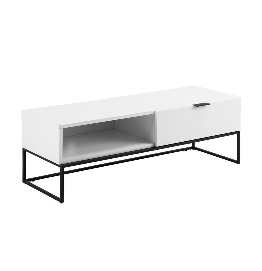 Weisse TV-Konsole Kobe mit Schublade, Korpus: Mitteldichte Holzfaserpla, Weiss, Schwarz, 120 x 40 cm