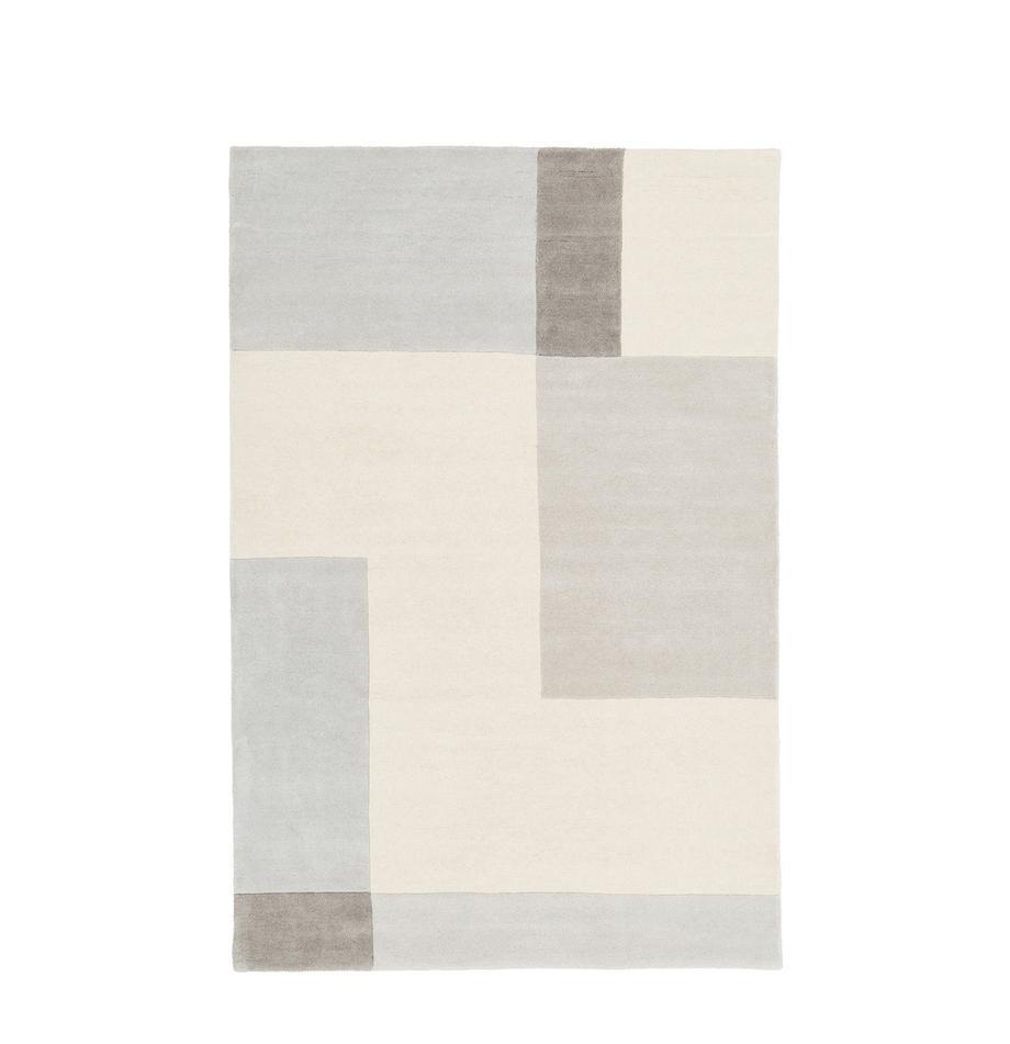 Tappeto in lana taftato a mano Keith, Retro: cotone, Beige, grigio, Larg. 120 x Lung. 180 cm (taglia S)