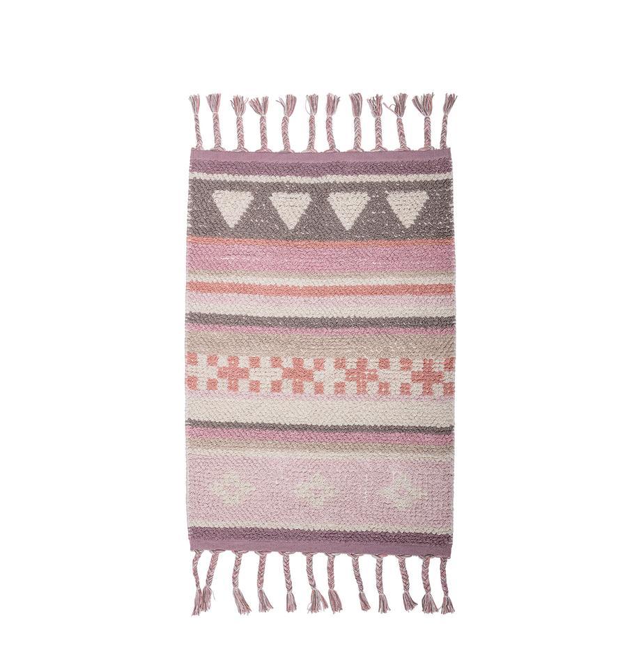 Vloerkleed Nagou, Katoen, Rozetinten, wit, beige, 60 x 90 cm