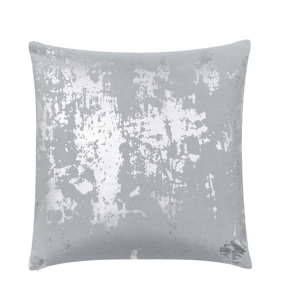 Fluwelen kussenhoes Shiny met glinsterend vintage patroon, Katoenfluweel, Lichtgrijs, zilverkleurig, 40 x 40 cm