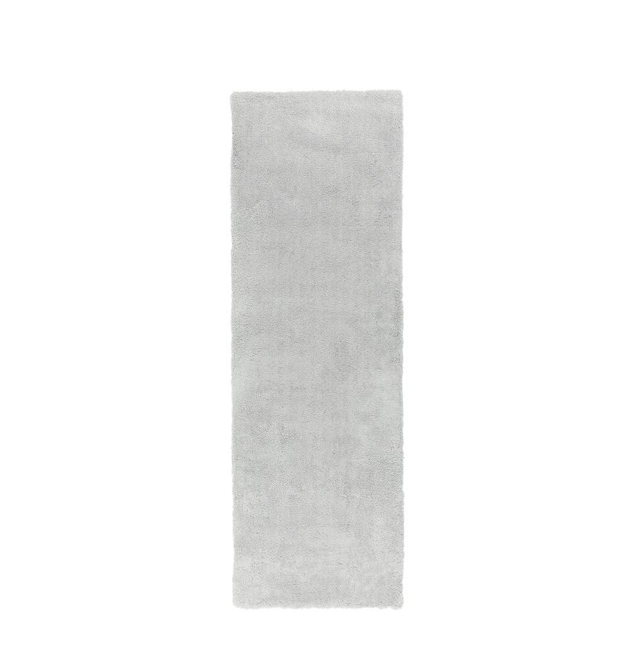 Pluizige hoogpolige loper Leighton in lichtgrijs, Bovenzijde: 100% polyester (microveze, Onderzijde: 70% polyester, 30% katoen, Lichtgrijs, 80 x 250 cm