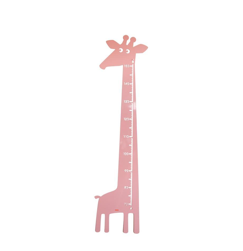 Groeimeter Giraffe, Gepoedercoat metaal, Roze, 28 x 151 cm
