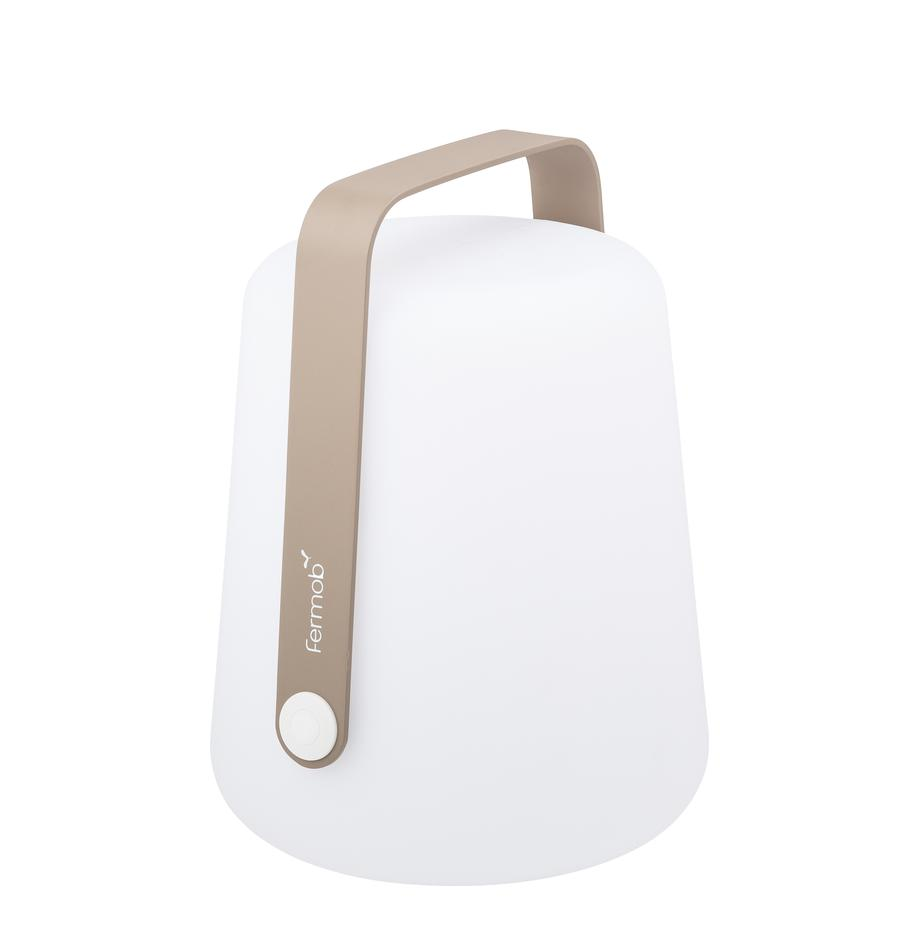 Mobile LED Aussenleuchte Balad, Lampenschirm: Polyethen, für den Aussen, Griff: Aluminium, lackiert, Muskatbraun, Ø 19 x H 25 cm