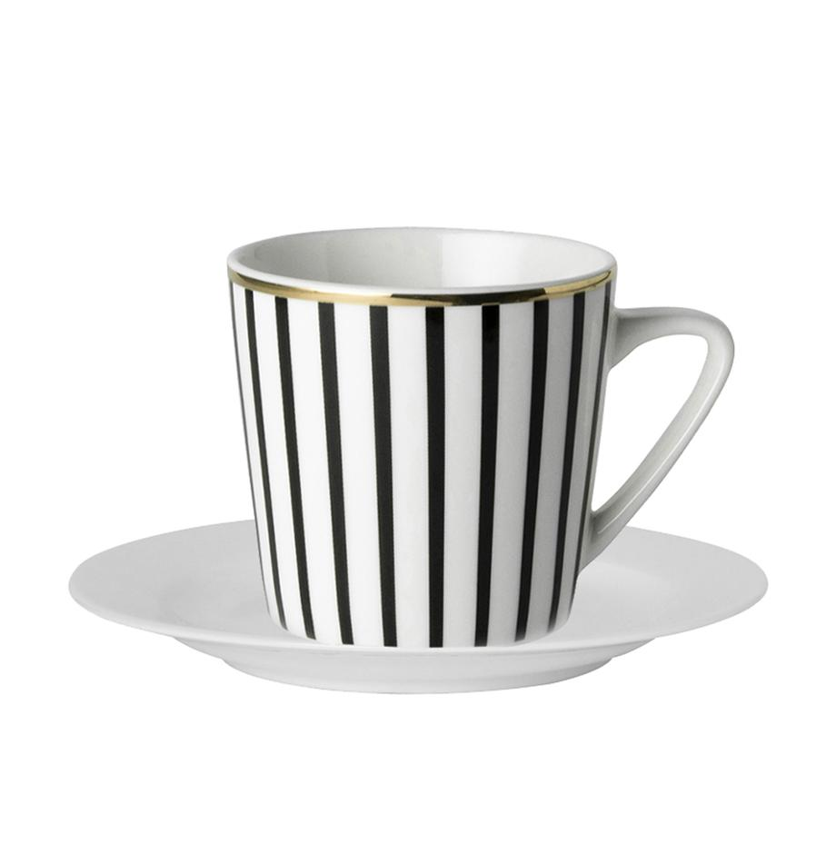 Tazas con platitos PlutoLoft, 4uds., Porcelana, Negro, blanco, dorado, Ø 8 x Al 8 cm
