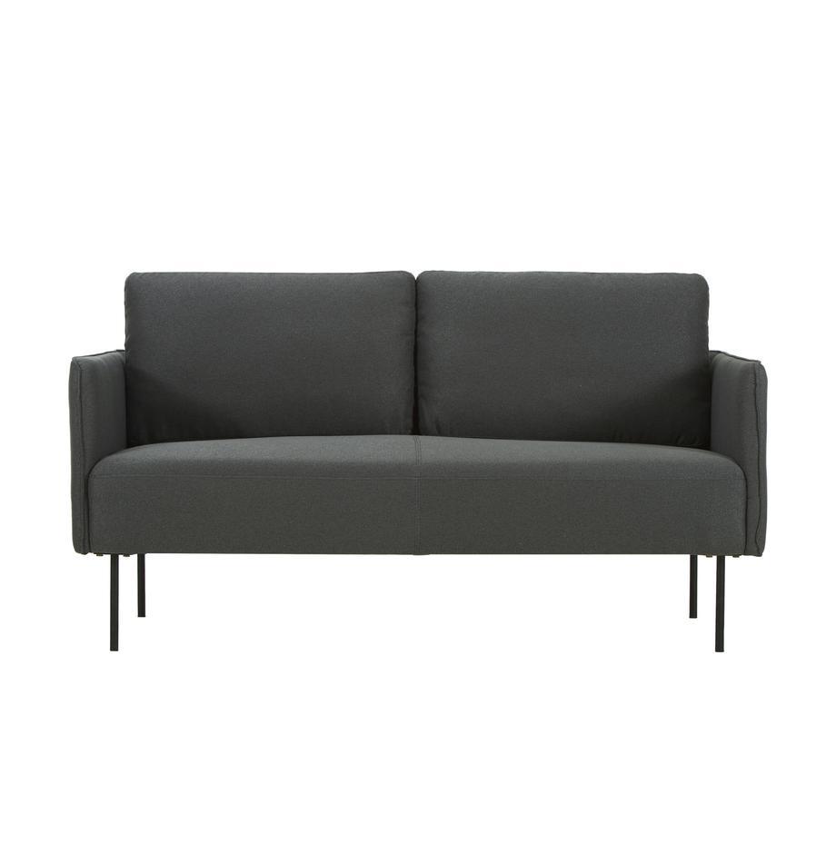 Sofa Ramira (2-Sitzer) in Anthrazit mit Metall-Füssen, Bezug: Polyester 20.000 Scheuert, Gestell: Massives Kiefernholz, Spe, Webstoff Anthrazit, B 151 x T 76 cm