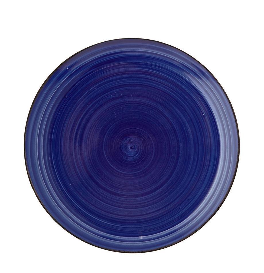 Ręcznie malowany talerz śniadaniowy Baita, 6 szt., Kamionka (twardy dolomit), ręcznie malowana, Niebieski, Ø 20 cm
