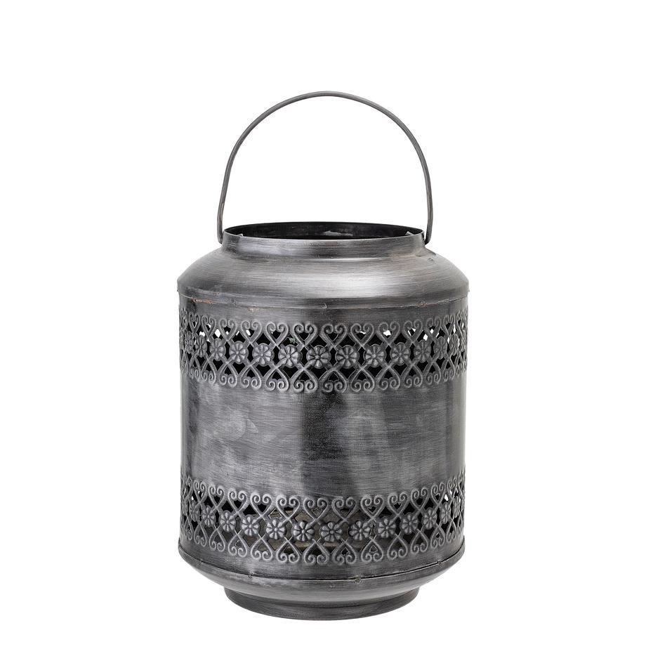 Latarenka z  metalu Lora, Metal szczotkowany, Szary, Ø 18 x W 22 cm